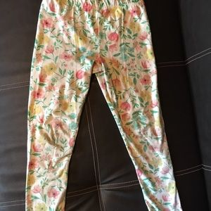 White floral print girls leggings